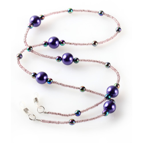 Satellite Purple Beaded Eyeglass Leash