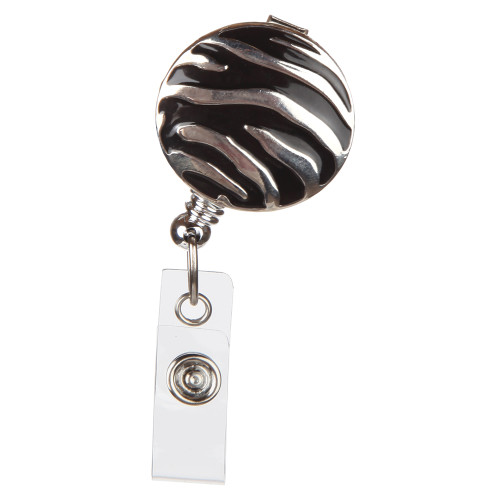 Ziggy Black and Silver Patterned ID Badge Reel