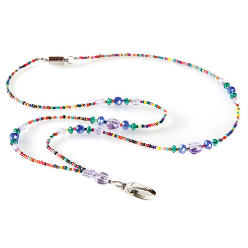 Mardi Gras Colorful Beaded Lanyard Necklace