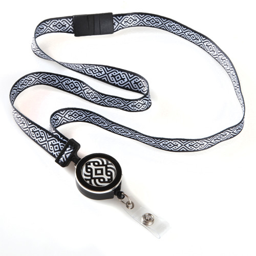 Black and White Scroll Patterned Ribbon Lanyard