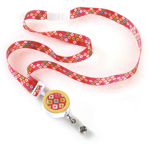 Bloomsbury geo patterned ribbon id lanyard