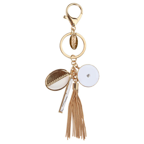 Gold Charmed Keychain with Tassel