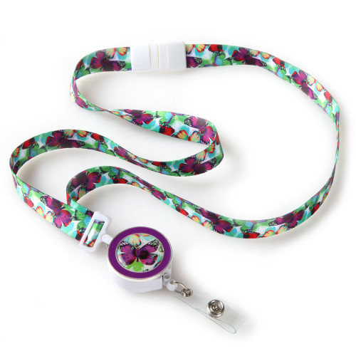 Butterfly Pattern Ribbon Lanyard