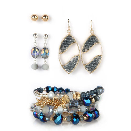 Blues Tonight Beaded Bracelet & Earring Set