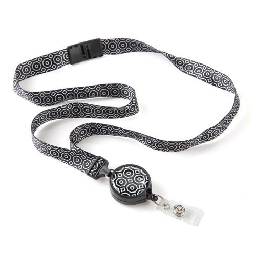 Moray Black & White Geometric Pattern Ribbon Lanyard