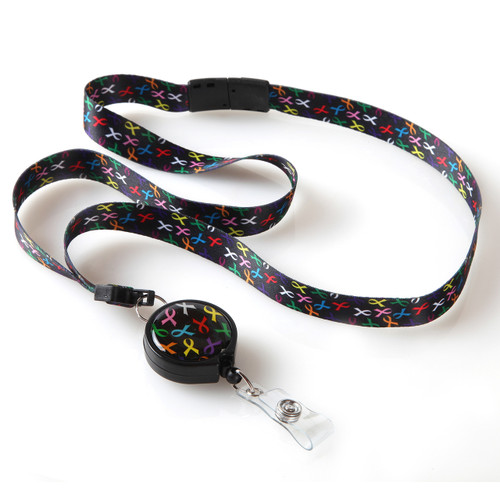 I Believe Multi Colored Cancer Awareness Ribbon Lanyard