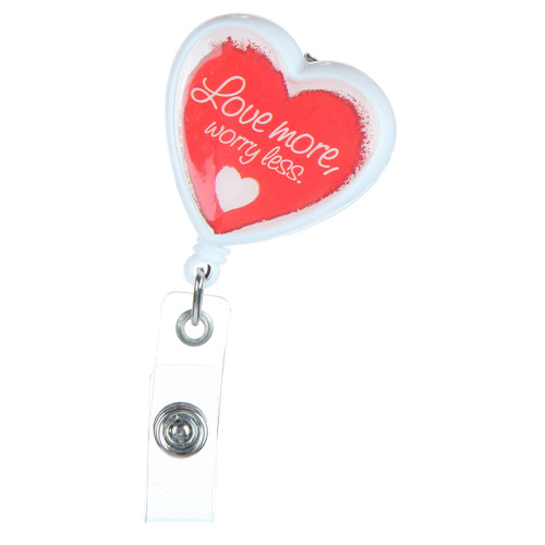 Love More Heart Shaped ID Badge Reel