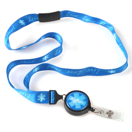 Live Love Heal Blue Caduceus Ribbon Lanyard