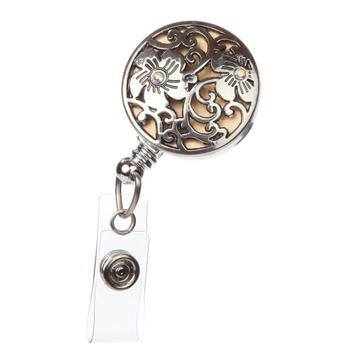 Clematis Fashion Badge Reel with silver floral overlay