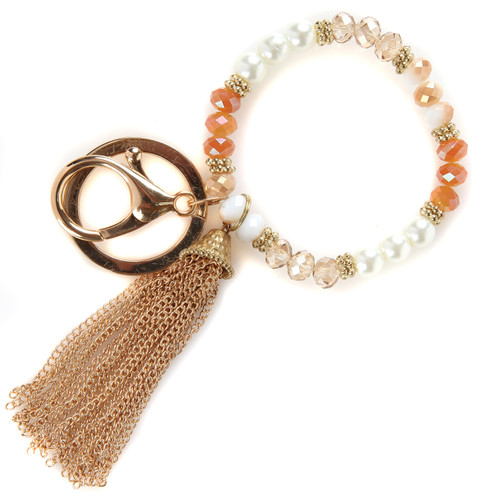 Champagne Beaded Bracelet Keychain