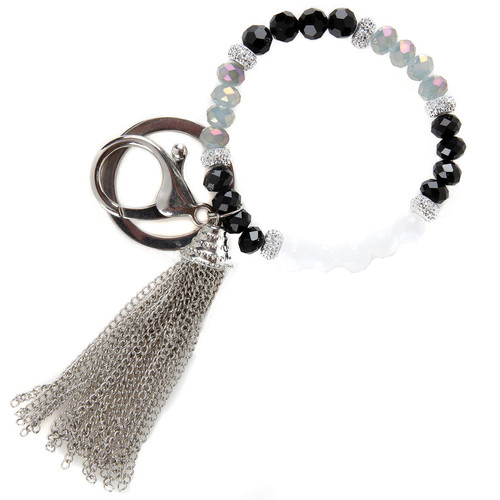 Starlight Beaded Bracelet Silver Keychain