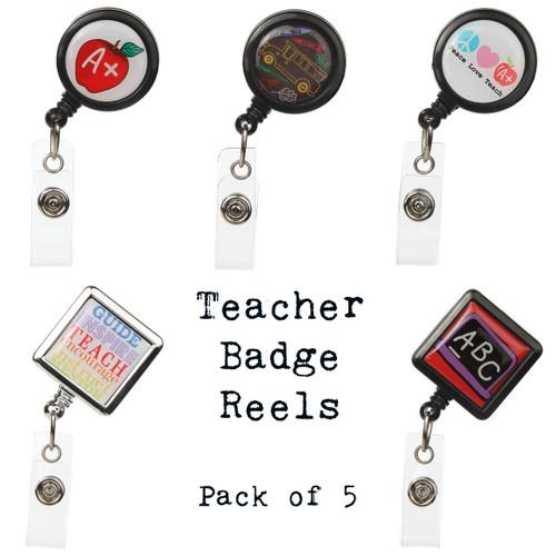 5-Pack Teacher Themed Badge Reels