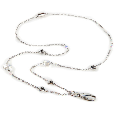 Acacia Silver Chain ID Necklace Lanyard with silver heart embellishments