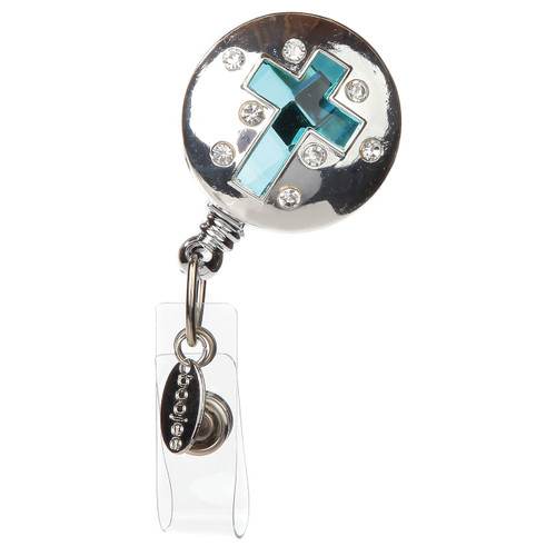 """BooJee Beads """"Agra"""" Cross Silver ID Badge Reel with Blue Cross"""