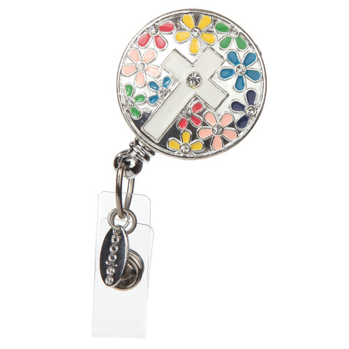 Cross badge reel with colorful daisy background