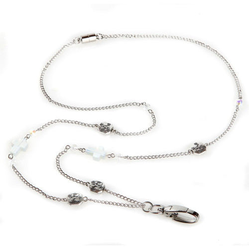 Acacia Silver chain lanyard with mini cross beads