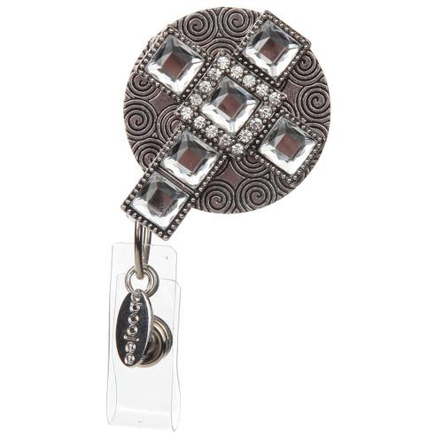 "BooJee Beads ""Shine"" Silver Cross Rhinestone Retractable ID Badge Reel"