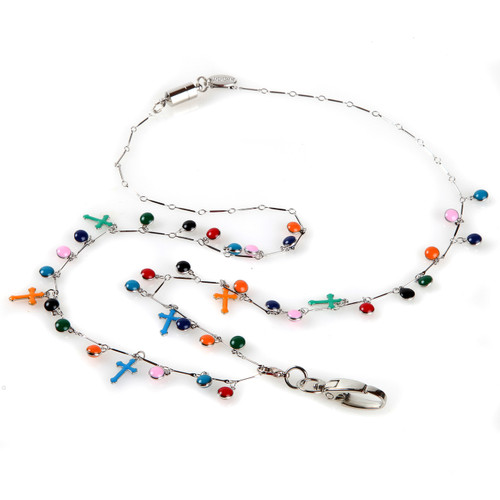 Calypso Cross Fashion chain and colorful bead lanyard