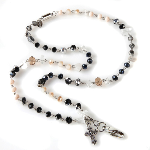 Dawn beaded lanyard with cross charm embellishment