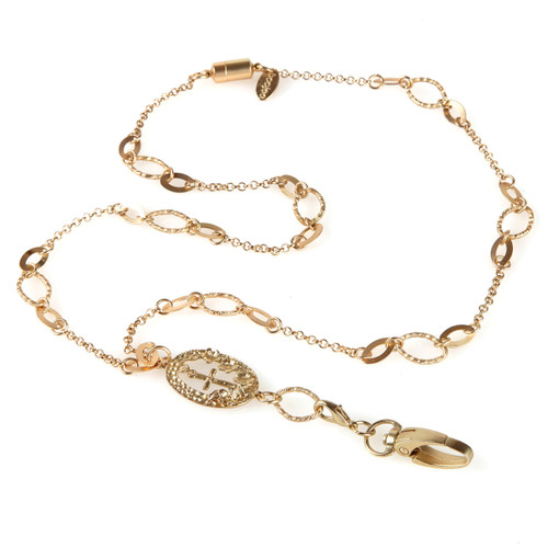 Juliet Gold Chain necklace lanyard with cross embellishment