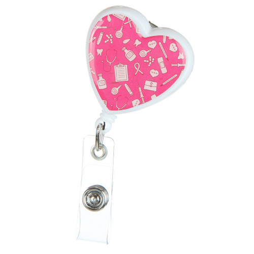 Heart shaped nurse badge reel with little medical tools, symbols and icons on a pink background