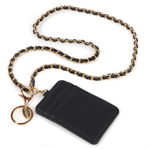 Coco black ID wallet with gold chain lanyard