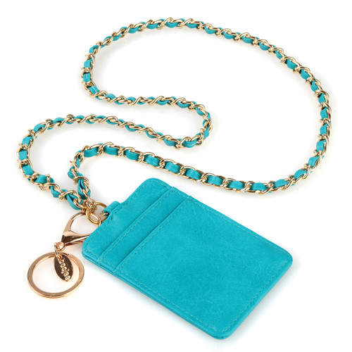 """BooJee Beads """"Gabrielle"""" Teal ID Wallet Lanyard with Gold Chain"""