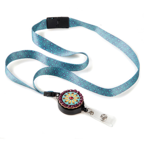 Mexico Patterned Ribbon Lanyard with Floral Medallion