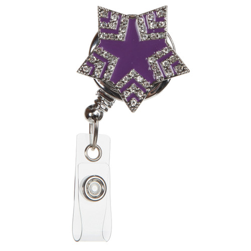 Purple Starshine ID badge reel with rhinestones