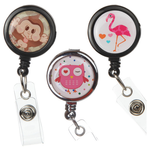 3 pack animal badge reels with owl, monkey and a flamingo