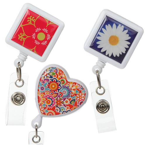 3-Pack Flower Themed Retractable Badge Reels for ID and Keys