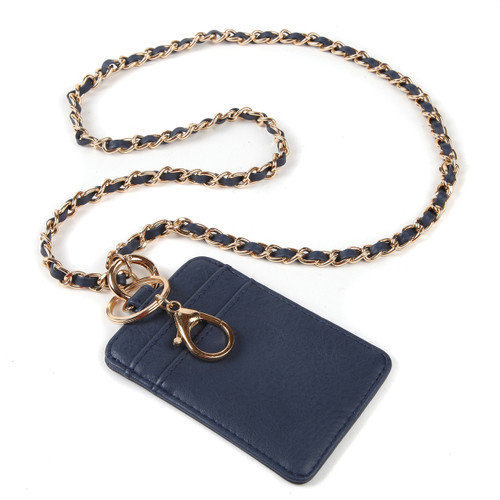 BooJee Beads No. 5 Wallet Lanyard in Navy Blue with Chain Strap