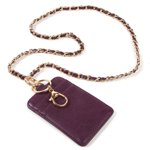 "BooJee Beads ""Celine"" Gold Chain and Plum Colored Wallet Lanyard Combo"