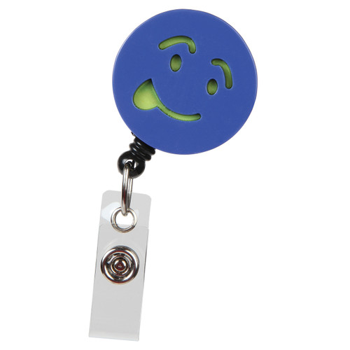 Silly Billy Blue Face Emoji Badge Reel