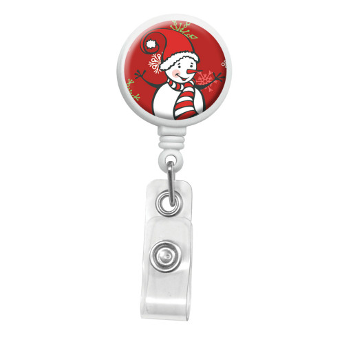 Snowman Badge Reel with red cap