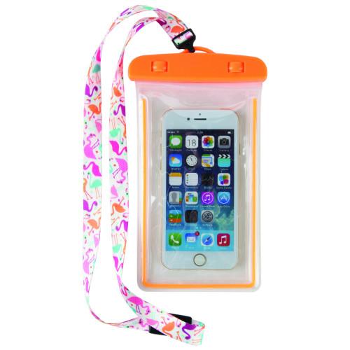 Fab Flamingo Waterproof Cell Phone Case Lanyard