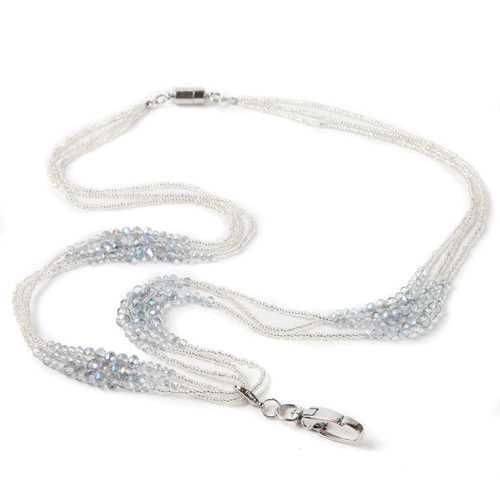 Jewelle Multi-strand beaded lanyard with clear and gray beads