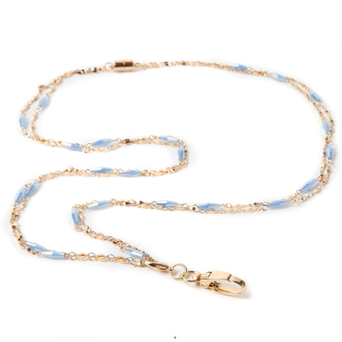 Aria Fashion Chain Lanyard in Gold and Blue