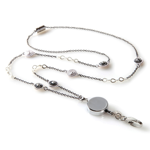 Pierrot Silver Chain Fashion Lanyard with Medallions