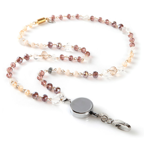 Delta Beaded Fashion Lanyard with Rose and Cream Beads and Detachable Reel