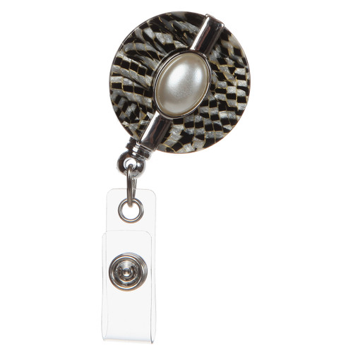 BooJee Beads Harmony Retractable ID Badge Reel with Pearl Center