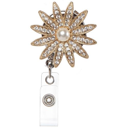 Grace  sparkling rhinestones  flower badge reel