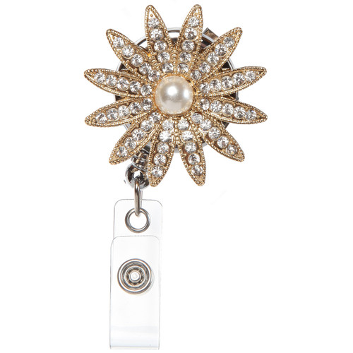 BooJee Beads Grace  sparkling rhinestone  flower badge reel in Gold