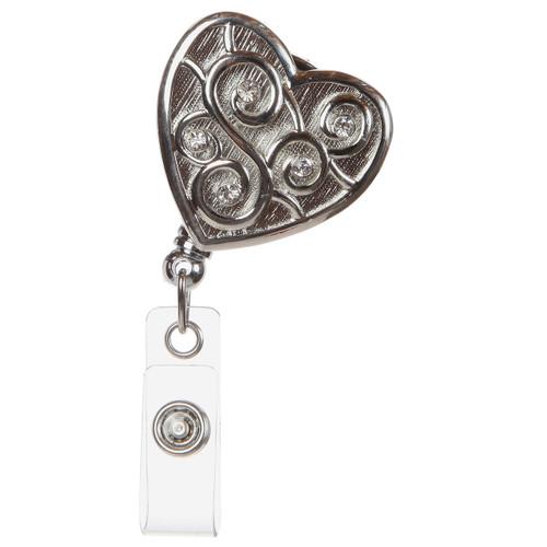 Love Always Silver Heart Badge Reel