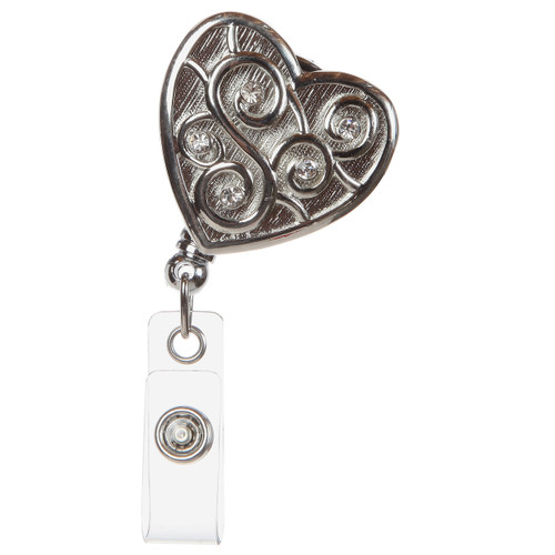 BooJee Beads Love Always Silver Heart Badge Reel with scrollwork design