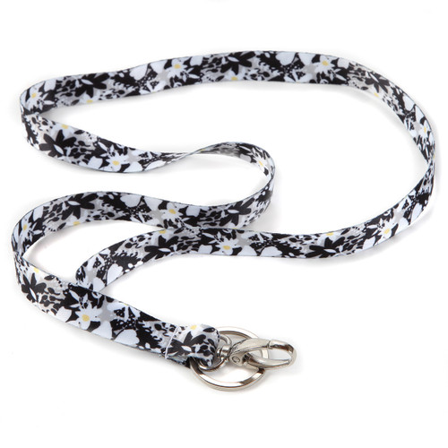 Midnight Garden Floral Ribbon Lanyard with Key Ring