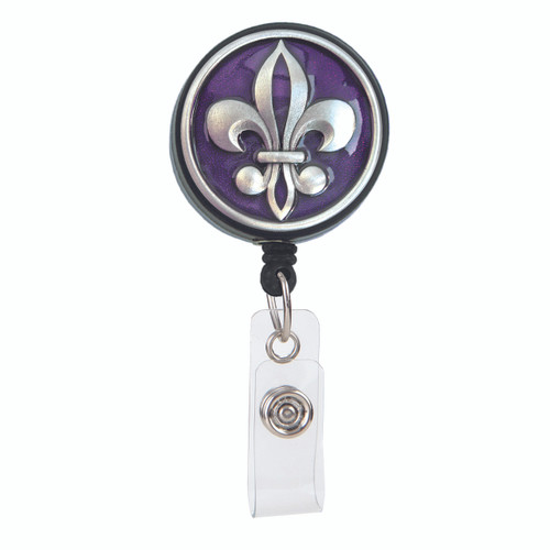Purple Fleur de Lis ID  Badge Reel