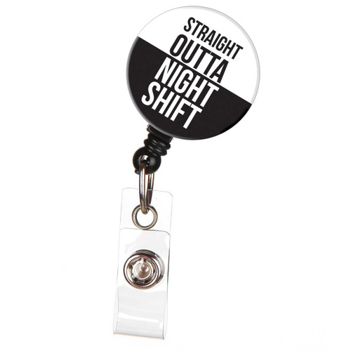 ID Avenue Straight Outta Night Shift Retractable ID Badge Reel