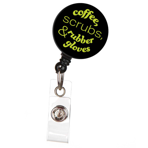 Coffee, Scrubs & Rubber Gloves Nurse ID Badge Reel