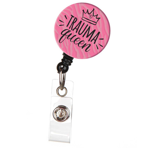 Trauma Queen ID Badge Reel in Pink